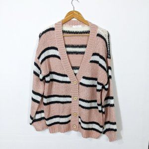 Lush Pink Black Stripe Chunky Cardigan Sweater